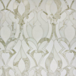 Artistic Tile Chateau Collection Mosaic - This opulent white marble mosaic would be stunning as a kitchen backpslash or as a framed detail under the hood with field tile surrounding it. I could even see this on a bathroom floor. Or as a feature wall in a bathroom like a wallpaper detail.