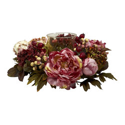 Nearly Natural - Peony Hydrangea Candelabrum - A candle makes any table or shelf a little warmer in feel. And surrounding that candle with a beautiful circle of Peony makes it doubly so. The soft colors, lush berries, and green leaves will create a heartwarming scene as they dance in candlelight. Comes with a fluted glass center for your candle, this is perfect for your holiday table, and also makes an ideal gift.