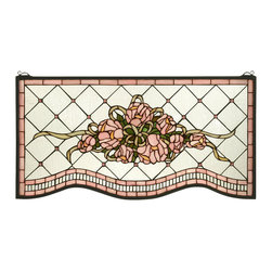 Meyda Tiffany - Meyda Tiffany Pink Cabbage Rose Stained Glass Tiffany Window X-49523 - Victorian inspired detailing help to create a charming, shabby chic feel to this Meyda Tiffany stained glass Tiffany window. From the Pink Cabbage Rose Collection, the soft shades of pink have been paired with bone beige hues and soft greens, creating a charmed look that is sure to please.