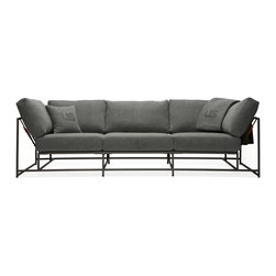 Stephen Kenn - City Gym Sofa - Composed of a steel welded frame with cotton webbing and leather belts, and cushion covers made from Faribault Woolen Mills Foot Soldier blankets. Originally created for the Todd Snyder City Gym boutique in Manhattan.