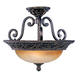 Maxim Lighting - Maxim Lighting 20281VAOI Portofino Oil Rubbed Bronze Semi-Flush Mount - 3 Bulbs, Bulb Type: 100 Watt Incandescent