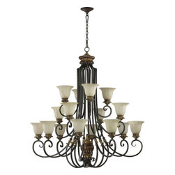 Quorum International - Quorum International 6101-16 Sixteen Light Three Tiered Up Lighting Chandelier - Sixteen light up lighting three tiered chandelier featuring Amber Scavo GlassRequires 16 60w Medium Bulbs (Not Included)