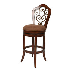 "Pastel Furniture - Carmel Swivel Barstool - The Carmel barstool brings comfort along with clean, elegant, and classic lines to the dining area. This swivel barstool features a quality wood frame with sturdy legs and foot rest finished in Cosmo Sepia with Murano Accent metal on the back. The padded seat is upholstered in Dakota Toffee offering comfort and style. Available in 26"" counter height or 30"" bar height. Assembled dimensions for this barstool: 46.5H x 18W x  21.5D"
