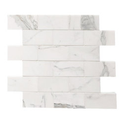 """Quintessa - Polished Calacatta Marble Mosaic - Calacatta Marble with 2""""x4"""" tiles are mounted on 12x12"""" sturdy mesh tile sheet with white grout with 18 stones on each sheet. Quantity includes one 12x12"""" tile. Shipping is per order."""