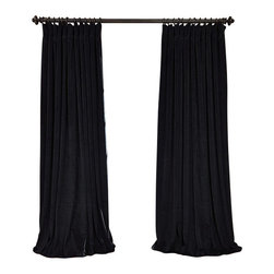 Exclusive Fabrics & Furnishings, LLC - Signature Black Doublewide Blackout Velvet Curtain - 100% Poly Velvet. 3 Pole Pocket. Plush Blackout Lining. Imported. Dry Clean Only.