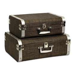 "IMAX - Curry Storage Suitcases with Stainless Steel Trim - Set of 2 - This set of two classic and sophisticated storage cases is covered in a woven chocolate toned cover and features stainless steel trim. Item Dimensions: (5.75-6""h x 15-17""w x 11.25-13.5"")"