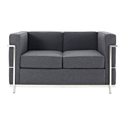"""IFN Modern - Le Corbusier LC2 Style Loveseat-Dark Grey - Cashmere Wool - Created by one of the most well-known swiss-french architects Le Corbusier (Charles-Edouard Jeanneret-Gris), the LC line is Le Corbusier's successful effort at fusion of urban style with the industrial steel age as a breakthrough to modernism. Like a cushion cradle, the LC Reproduction line boasts a unique, stylish and attention-grabbing externalized frame that holds the cushions like little baskets. Originally designed for the Maison la Roche in Paris as part of Le Corbusier's 2 projects, the final product of chrome-plated tubular steel chairs have now become an iconic timeless collection imbued with elegance and class. As a specialized manufacturer of famous mid-modern designer furniture, the LC Line Reproduction by IFN Modern also reflects these qualities not only in terms of classy and elegant appearance but also in utmost care in details such using premium construction material in 100% full grain leather and solid stainless steel. This collection features:1. Stylish """"basket of cushions†to hold 2 individuals comfortably in style 2. Signature look of externalized steel frame 3. Plush cushions that stay in shape to cradle the contours of the delicate body for a perfect fit and comfortable session. 4. Back to front to bottom, side to side fully upholstered in full grain Italian/Aniline leather5. Functionally elegant couple's piece for lovebirds in any setting• Product is upholstered in 100% Full Grain Italian Leather, 100% Full Grain Aniline Leather or Fabric • Variety of colors available• Long lasting durability and strength with high grade solid stainless polished steel frame resistant to chipping/rusting.• Silky smooth corners from detailed welding, grinding and sanding• Balanced stability on all surfaces with adjustable floor-leveling footcaps• Plush cushions that stay in shape for short-long sessions comfort with high density injected foam."""