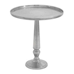 "BZBZ27604 - Table Tray Fluted Base Design in Metallic Finish - Table tray fluted base design in metallic finish. Lend a touch of shimmer and glamour to home settings with this stylish and elegantly styled aluminum table tray. It comes with the following dimensions: 23"" W x 23"" D x 26"" H. 10"" W x10"" D."