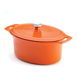 Rachael Ray - Rachael Ray Orange Cast Iron 6.5-Quart Covered Oval Casserole - This 3.5-quart Dutch oven is crafted from cast iron with a cool orange finish. The interior and exterior are coated in hard enamel while the lid has drip points on the inside that catch steam, which then trickles back down for moist and succulent dishes.