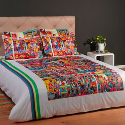 "ARTnBED - Bohemian Duvet Cover - ""Hindley street"", White - Action, atmosphere and nightlife - Hindley street is the place where things happen in Adelaide, Australia. There is something for everyone, and it is all here on this dynamic duvet cover with a large digital print of the painting ""Hindley Street"" by the artist Marie Jonsson-Harrison. Colorful and full of life - Marie paints everything she sees in her vibrant, not-to-be missed style. With this duvet in your bedroom, you'll wake with a smile every morning."