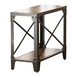 Steve Silver Furniture - Steve Silver Winston Chairside End Table in Rustic Medium Cherry - Chairside End Table in Rustic Medium Cherry belongs to Winston Collection by Steve Silver Achieve a casual and eclectic d?cor with the Winston chairside end table. Solid birch hardwood tops and shelves are finished in a rustic medium cherry finish while the iron flat bar and French bracket framing with exposed rivets inspires an old world and eclectic look. The durable powder coating  along with a liquid finish highlights the metal frames.  Chairside End Table (1)