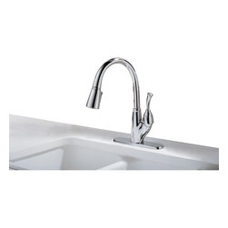 Delta - Allora Single Handle Kitchen Faucet with Pull-Out Spray in Chrome - Delta 989-DST Allora Single Handle Kitchen Faucet with Pull-Out Spray in Chrome. The Allora pull-down kitchen faucets and coordinating bar/prep faucets capture a country sophisticate flavor with hints of the watering can inspiration behind the design.  The simple bead detailing provides visual interest, while the Delta-exclusive MagnaTite?�  docking system keeps the spray wand securely in place for picture-perfect grace.Delta 989-DST Allora Single Handle Kitchen Faucet with Pull-Out Spray in Chrome, Features:MagnaTite  docking keeps the kitchen pull-down spray wand firmly in place with a powerful integrated magnet, so it stays docked when not in use.