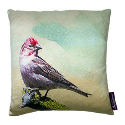 Tempo Luxury Home - The Traveler Pillow by Joe Ginsberg for Tempo Luxury Home - A red-crested bird glances curiously. With its graceful and delicate imagery, use this decorative pillow to impart the beauty of nature anywhere in your environment. The Traveler is printed on silk charmeuse; velvet-textured backing in Silver. Fill: 75% goose down; 25% feather. The Fable Collection is produced to order.