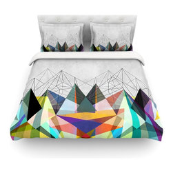 """Kess InHouse - Mareike Boehmer """"Colorflash 3X"""" Grey Rainbow Cotton Duvet Cover (Queen, 88"""" x 88 - Rest in comfort among this artistically inclined cotton blend duvet cover. This duvet cover is as light as a feather! You will be sure to be the envy of all of your guests with this aesthetically pleasing duvet. We highly recommend washing this as many times as you like as this material will not fade or lose comfort. Cotton blended, this duvet cover is not only beautiful and artistic but can be used year round with a duvet insert! Add our cotton shams to make your bed complete and looking stylish and artistic! Pillowcases not included."""