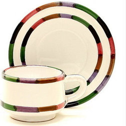 Artistica - Hand Made in Italy - CIRCO: Cup and Saucer Set - The Circo-Bello collection is an exclusive product from Deruta of Italy designed by Bill Goldsmith.