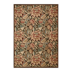 """Nourison - Nourison Graphic Illusions GIL10 2'3"""" x 3'9"""" Brown Area Rug 13234 - An overlapping, over-sized pattern turns classic flowers and flourishes into a daring act of defiance, especially when executed in of-the-moment hues of green, blue, gold, crimson and chocolate brown. This expertly hand-carved area rug features a high-low loop pile construction for incredible depth and dimension."""