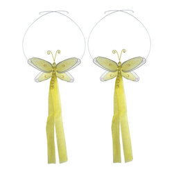 "Bugs-n-Blooms - Dragonfly Tie Backs Yellow Multi-Layered Dragonflies Tieback Pair Set Decoration - Window Curtains Holder Holders Tie Backs to Decorate for a Baby Nursery Bedroom, Girls Room Wall Decor - 5""W x 4""H Pink & White Multi-Layered Curtain Tieback Set Dragonfly 2pc Pair - Beautiful window curtains tie backs for kids room decor, baby decoration, childrens decorations. Ideal for Baby Nursery Kids Bedroom Girls Room.  This gorgeous 3D dragonfly tieback set is embellished with sequins, glitter and has a beaded body. This pretty dragonfly decoration is made with a soft bendable wire frame & have color match trails of organza ribbons. Has 2 adjustable wires to wrap around the curtains; or simply remove & add your own ribbon for a personal & custom look. Visit our store for more great items. Additional styles are available in various colors, please see store for details. Please visit our store on 'How To Hang' for tips and suggestions. Please note: Sizes are approximate and are handmade and variances may occur. Price is for one pair (2 piece)"