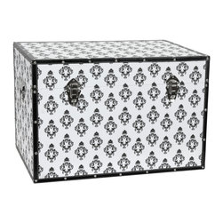 Oriental Furniture - Damask Storage Trunk - White - Reminiscent both of the regal fashions from centuries past as well as of high-demand designer goods of today, the striking black-on-white design is sure to impress. Arranged to look stunning from each side, a vintage European damask pattern has been printed on high-quality canvas and wrapped around a sturdy, lightweight wooden frame. Featuring an inconspicuous arm to hold the lid open and external clasps to keep it shut tight, this chest is a perfect marriage of function and form. Faux leather edges protect the canvas and a soft, fabric lined interior cushions your possessions, bringing you comfort and security at a great value. This trunk is the perfect choice for adding both storage and splendor to your home or business.