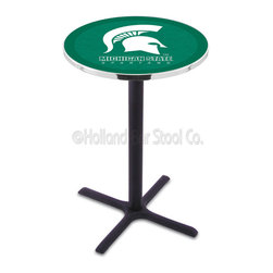 Holland Bar Stool - Holland Bar Stool L211 - Black Wrinkle Michigan State Pub Table - L211 - Black Wrinkle Michigan State Pub Table belongs to College Collection by Holland Bar Stool Made for the ultimate sports fan, impress your buddies with this knockout from Holland Bar Stool. This L211 Michigan State table with cross base provides a commercial quality piece to for your Man Cave. You can't find a higher quality logo table on the market. The plating grade steel used to build the frame ensures it will withstand the abuse of the rowdiest of friends for years to come. The structure is powder-coated black wrinkle to ensure a rich, sleek, long lasting finish. If you're finishing your bar or game room, do it right with a table from Holland Bar Stool. Pub Table (1)