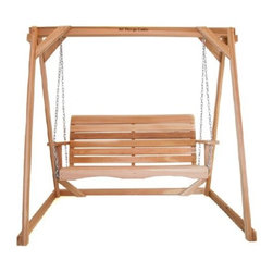 Solid Western Cedar Swing With A-Frame - This set includes our comfy solid Cedar Porch Swing and a solid 8ft A-Frame to mount it on. Mounting hardware and chain all included. Load weight approx. 600 lbs.
