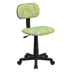 Flash Furniture - Blue and White Swirl Printed Green Computer Chair - This attractive design printed office chair will liven up your classroom/ dorm room/ home office or child's bedroom. If you're ready to step out of the ordinary then this computer chair is for you!