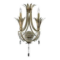 Kathy Kuo Home - Luciana Two Light Antique Gold Silver Deco Wall Sconce - The romance of art deco continues to seduce modern design aficionados, evident in both fashion and films like silent hit The Artist.  This elegant sconce brings the delicacy and sophistication of Hollywood Regency style to life.