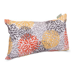 Majestic Home - Outdoor Citrus Blooms Small Pillow - Add a splash of color and a little texture to any environment with these great indoor/outdoor plush pillows by Majestic Home Goods. The Majestic Home Goods Small Pillow will add additional comfort to your living room sofa or your outdoor patio. Whether you are using them as decor throw pillows or simply for support, Majestic Home Goods Small Pillows are the perfect addition to your home. These throw pillows are woven from Outdoor Treated polyester with up to 1000 hours of U.V. protection, and filled with Super Loft recycled Polyester Fiber Fill for a comfortable but durable look. Spot clean only.