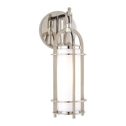 Hudson Valley Lighting - Hudson Valley Lighting | Portland Bath Light - By Hudson Valley Lighting.The Portland Collection is inspired by the classic couch lamp. An opal glass diffuser evenly diffuses the glowing white light within the fixture's clean-lined, cylindrical cages. Portland adds a hint of rustic charm with hook-and-eye hangers, providing authentic details. The Portland Bath Light is composed of a metal body with a glass shade. Available in historic bronze, historic nickel or polished nickel finishes.UL Listed.