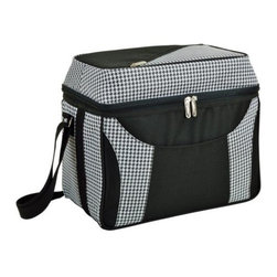 Picnic at Ascot - Dome Top Cooler, Houndstooth by Picnic at Ascot - Our Dome Top Cooler in Houndstooth by Picnic at Ascot is roomy and Includes a front sleeve pocket and shoulder strap to carry. Its large bottom cooler is leak proof and has top zip pocket.