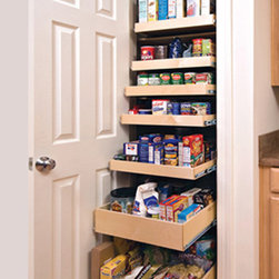 Pull Out Pantry Shelves - Outfit your entire pantry with custom pull out shelves from ShelfGenie of Indiana and gain the organization you need to save time and money.  This pantry features both single-height and double-height shelves.  Choose the configuration to suit your kitchen and your stored items.