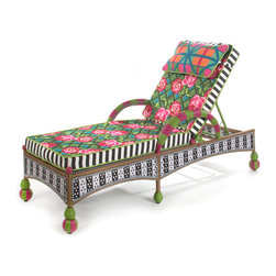 Greenhouse Outdoor Chaise | MacKenzie-Childs - Incredibly comfortable and very fun. Our garden chaise is available with a reversible Greenhouse or Flower Market cushion. The recliner back adjusts to several positions. Weatherproof, hand-woven synthetic material on powder-coated iron. Sturdy, easy care, and made to withstand the elements.