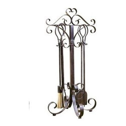 Uttermost - Uttermost 20338 Daymeion Metal Fireplace Tools Set of 5 - This decorative set of fireplace tools is made of hand forged metal finished in lightly distressed cocoa brown with a light tan glaze.