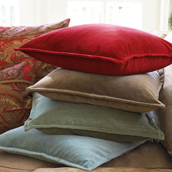 """Washed Velvet Pillow Cover - A few velvet throw pillows not only feel good, they quickly provide a nice patch of color to any room. I love how these are washed for a more soothing hue.Dimensions: 20"""" square"""