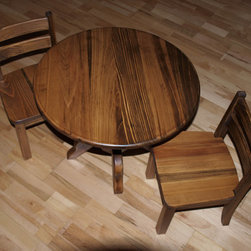 Round Pedestal Childrens Table & Chairs Set by J.R. Ables - This Etsy dealer can do custom sizes and finishes.