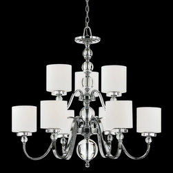 Quoizel - Quoizel DW5009C Downtown Modern/Contemporary Chandelier - Cool, sleek sophistication is written all over this design. Gleaming glass ball accents complement the opal etched glass drum shade and shiny chrome finish, bringing a soft modern sensibility to your home.
