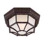 Savoy House - Savoy House Exterior Collections Flush Mount Ceiling Fixture in Tortuga - Shown in picture: Decorate your favorite outdoor spaces to bring a sense of style Al Fresco! Rustic Bronze Finish with Frosted Glass and UL Damp Location rated