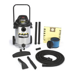 "Shop Vac - Shop-Vac 9625510 6.5-Peak Horsepower Right Stuff Stainless Steel Wet/Dry Vacuum, - Right Stuff SS 10 gal 6.5 Peak HP wet/dry vac. Quiet operation motor  stainless steel tank and Lock-On positive connection hose system.     Cord Length: 18 feet  Operation Sound Level: Quiet  Hose Size: 1.5"" Diameter     Warranty: 1 year Stainless Steel Tank Lock-on Hose Blower Feature Onboard Accessory Storage.  Includes: Accessories:  1-1/2"" Dia x 12' Lock On  Hose  (2) 1-1/2"" Wands  14"" Floor Nozzle  Blow Molded Crevice  Claw Nozzle Filters: High-Quality Collection Bag  Ultra Web Filter. Performance: Air Flow:  195 (CFM) Sealed Pressure:  60 (inches) Electrical Ratings:  120V 60Hz 12Amps Peak Air Watts:  390  This item cannot be shipped to APO/FPO addresses. Please accept our apologies."