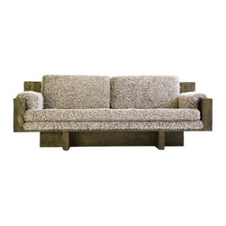 ecofirstart - Sofa inspired by Paul Evans - You simply must schnag this sofa. Crafted of sustainable distressed oak and upholstered in the fuzziest cotton fabric, you should already be dreaming about the types of catnaps this couch can deliver. Careful, visitors might never want to vacate.