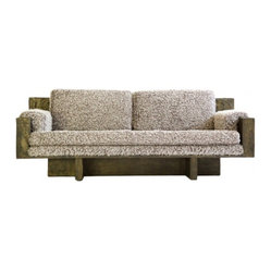 EcoFirstArt - Paul Evans Sofa - You simply must schnag this sofa. Crafted of sustainable distressed oak and upholstered in the fuzziest cotton fabric, you should already be dreaming about the types of catnaps this couch can deliver. Careful, visitors might never want to vacate.