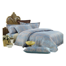 Dolce Mela - Duvet Covet Set Jacquard Luxury Linens Bedding Dolce Mela DM448, King - Jacquard woven motifs of intricate art gives this percale sateen cotton duvet cover a delicate but savvy look to surpass any expectations for comfort and sophistication.