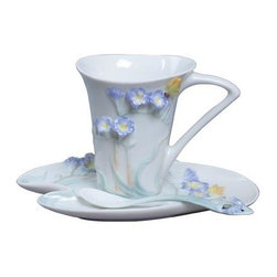 US - 6.75 Inch Glazed Porcelain 3 Piece Coffee Set Blue Freesia Motif - This gorgeous 6.75 Inch Glazed Porcelain 3 Piece Coffee Set Blue Freesia Motif has the finest details and highest quality you will find anywhere! 6.75 Inch Glazed Porcelain 3 Piece Coffee Set Blue Freesia Motif is truly remarkable.