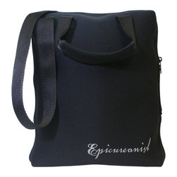 Vinotemp - Epicureanist On-The-Go Tote - Soft-grip handles with shoulder strap. Easy-to-clean. Seven soft storage pockets. Easy pull zipper. Securely hold a wine bottle, two glasses, drip stop ring, corkscrew, wine pourer and a wine bottle stopper. Made from neoprene. Black color. 3.13 in. W x 10.5 in. H (1 lb.). Warranty