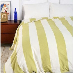 Cabana Stripe Duvet Cover - To me, this duvet is the definition of summer. Key lime stripes on soft white woven cotton feels so luxuriously resort-like, I swear I can almost feel the warm ocean breeze.