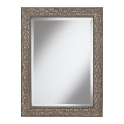"Chateau Lux - Traditional Elbridge 35"" High Washed Linen Rectangular Wall Mirror - This impressive wall mirror is characterized by its rectangular shape and acanthus leaf border frame. The antique washed linen finish provides an old-world feel that is as charming as it is luxurious. A lovely accent piece for any traditional living space. Decorative wall mirror. Rectangular shaped polyurethane frame. Antique washed linen finish. Acanthus leaf border. Beveled mirror glass. 35"" high. 25 3/4"" wide. Mirror glass only is 27 1/2"" high 19 1/2"" wide. Hang weight 20 1/2 pounds.  Decorative wall mirror.  Design by Chateau Lux.  Rectangular shaped polyurethane frame.  Antique washed linen finish.  Acanthus leaf border.  Beveled mirror glass.  35"" high.  25 3/4"" wide.  Mirror glass only is 27 1/2"" high 19 1/2"" wide.  Hang weight 20 1/2 pounds."