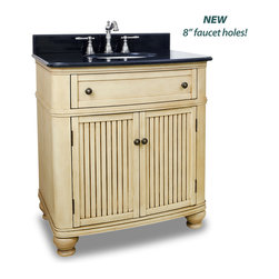 "Hardware Resources - Elements Bathroom Vanity - Compton Buttercream Vanity with Preassembled Top and Bowl by Bath Elements This 32"" wide MDF vanity has simple beadboard doors and curved shape to accent the traditional cottage feel. The buttercream finish with antique crackle is created by hand, making each vanity unique. A large cabinet, fully functional top drawer fitted around plumbing and interior pull-out drawer, equipped with ball bearing slides, provide ample storage. This vanity has a 2CM black granite top preassembled with an H8809WH (15"" x 12"") bowl, cut for 8"" faucet spread, and corresponding 2CM x 4"" tall backsplash. - Vanity: 32"" x 23"" x 35"" (with top),Style: Traditional,Finish: Buttercream,Materials: MDF,Top: 2CM black granite with 2CM x 4"" tall backsplash,Bowl: H8809WH,Coordinating Mirror: MIR028,Faucet must be purchased separately"