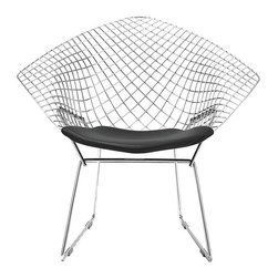 Knoll - Bertoia Diamond Chair - Wrapping around you like angel wings, this geometrically patterned chair is modern elegance at its finest. Designed with exactitude by Harry Bertoia, this chair has a comfy seat and a lounge-worthy back, all supported by a sturdy steel frame. This chair will catch your eye and hold your interest for years to come.