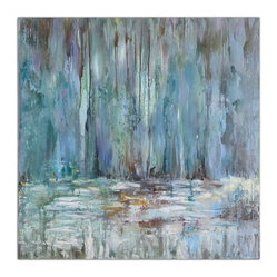 "Uttermost - ""Blue Waterfall"" Art - When the raw power of Niagara Falls just isn't your speed, come spend some time with this perfectly gentle waterfall instead. Hand painted on canvas, this Impressionist-inspired artwork captures the movement and reflective quality of flowing water in a soft blue-green palette and textured surface."