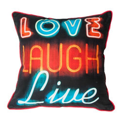 Neon Type Decorative Pillow - Bring a neon colour pop to you home with our neon type pillow. The bold and bright neon type on the black background makes this pillow perfect to add a splash of colour within the home. Made from 100% cotton at the beautiful size of 50x50cm and generously filled with polyester hollow fibre this quirky pillow is both plush and cosy. Featuring a complimenting coloured back and colour co-ordinating piping and zip, each pillow in our unique range is finished to perfection.