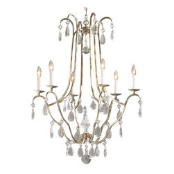 """Inviting Home - Louis XVI Crystal Chandelier - Louis XVI style crystal chandelier; 28-3/4"""" x 37-1/2""""H; hand-crafted in Italy; Louis XVI style six-light chandelier. Louis XVI chandelier has hand-wrought iron frame antiqued silver leaf finish and crystal drops. This chandelier is hand-crafted in Italy."""