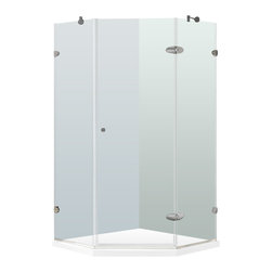 "VIGO Industries - VIGO 36 x 36 Frameless Neo-Angle 3/8"" Shower Enclosure - Both dramatic and space-saving, the VIGO frameless neo-angle shower enclosure with Low-Profile Base creates a beautiful focal point for your bathroom."